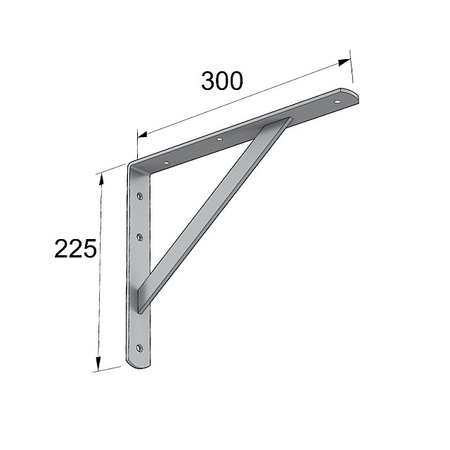 HEAVY DUTY SHELF BRACKET 300x225mm/260kg  GREY
